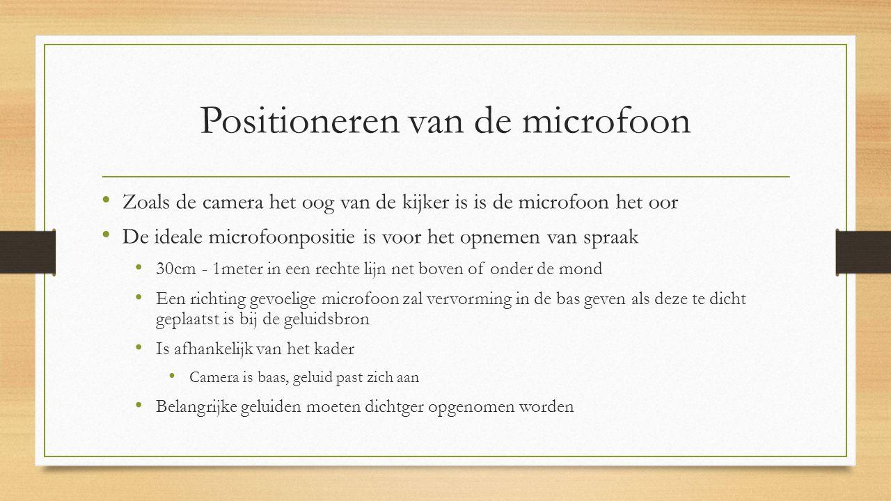Positioneren van de microfoon Zoals de camera het oog van de kijker is is de microfoon het oor De ideale microfoonpositie is voor het opnemen van spraak 30cm- 1meter in een rechte lijn net boven of onder de mond Een richting gevoelige microfoon zal vervorming in de bas geven als deze te dicht geplaatst is bij de geluidsbron Is afhankelijk van het kader Camera is baas, geluid past zich aan Belangrijke geluiden moeten dichtger opgenomen worden