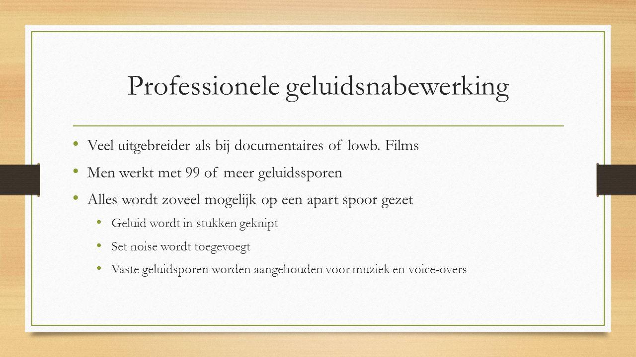 Professionele geluidsnabewerking Veel uitgebreider als bij documentaires of lowb.