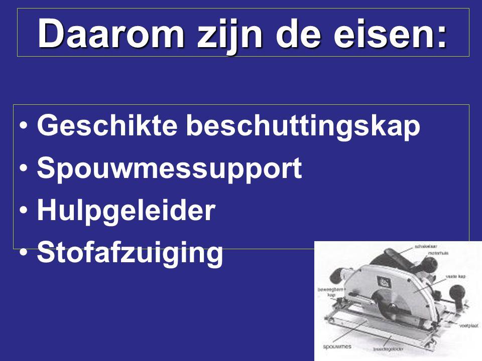 Daarom zijn de eisen: Geschikte beschuttingskap Spouwmessupport Hulpgeleider Stofafzuiging