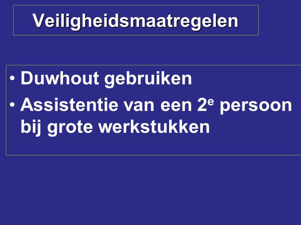 Veiligheidsmaatregelen Duwhout gebruiken Assistentie van een 2 e persoon bij grote werkstukken