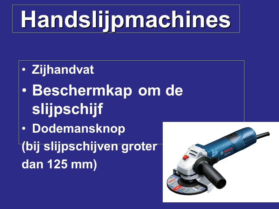 Handslijpmachines Zijhandvat Beschermkap om de slijpschijf Dodemansknop (bij slijpschijven groter dan 125 mm)