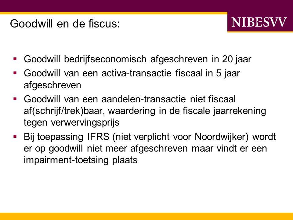  Goodwill bedrijfseconomisch afgeschreven in 20 jaar  Goodwill van een activa-transactie fiscaal in 5 jaar afgeschreven  Goodwill van een aandelen-