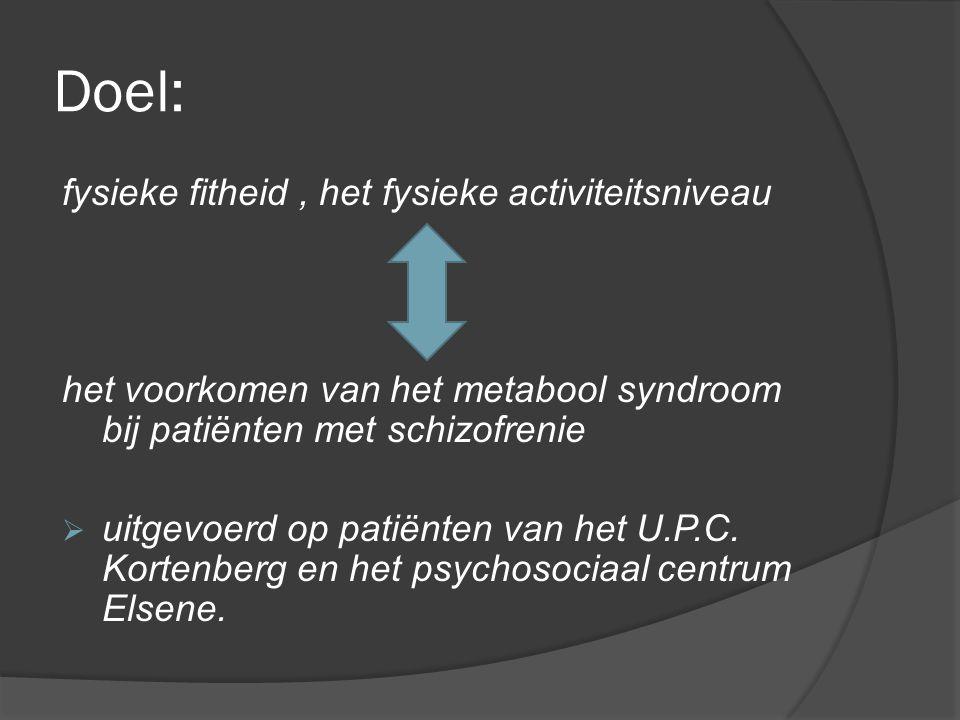 Methode:  afname van de Eurofit testbatterij: inschatten fysieke fitheid  IPAQ gestructureerde zelfrapportage  medicatievoorschrift : dosis neuroleptica herleiden naar equivalente dosis Chlorpromazine  Spirometrie: vitale longcapaciteit  PECC : tool om de symptomen van patiënten consequent op te volgen en bij te houden  metabool Syndroom (MetS): bloeddruk, lengte en gewicht  statistische analyse