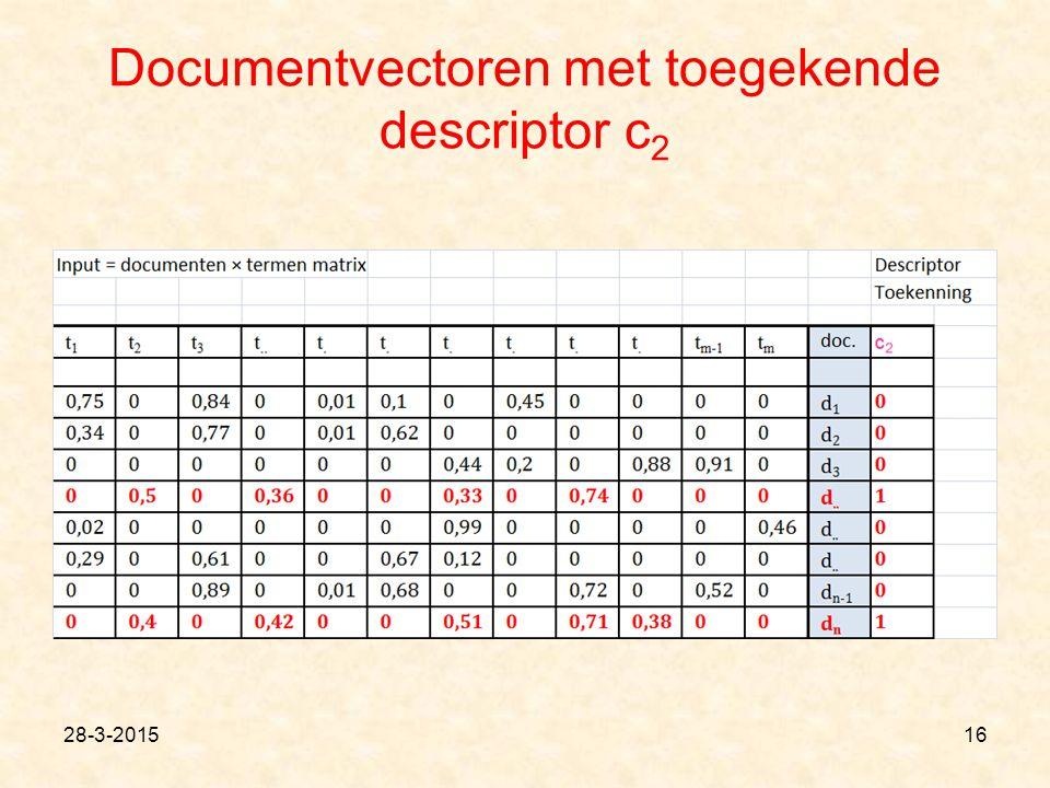 Documentvectoren met toegekende descriptor c 2 28-3-201516