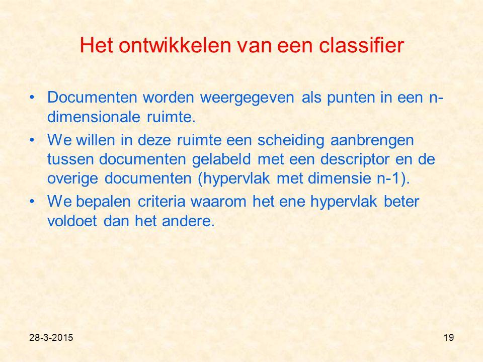 Het ontwikkelen van een classifier Documenten worden weergegeven als punten in een n- dimensionale ruimte. We willen in deze ruimte een scheiding aanb