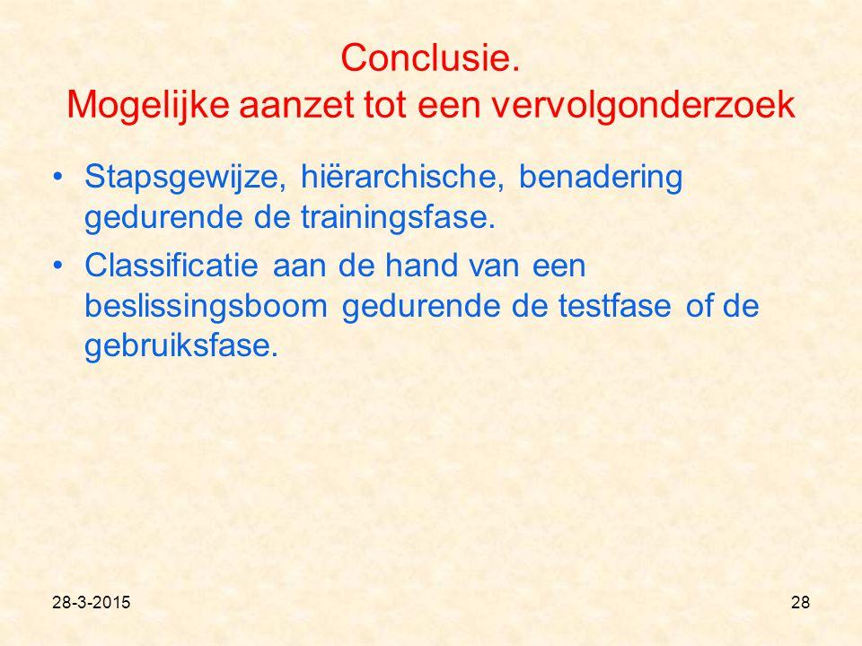 Conclusie. Mogelijke aanzet tot een vervolgonderzoek Stapsgewijze, hiërarchische, benadering gedurende de trainingsfase. Classificatie aan de hand van