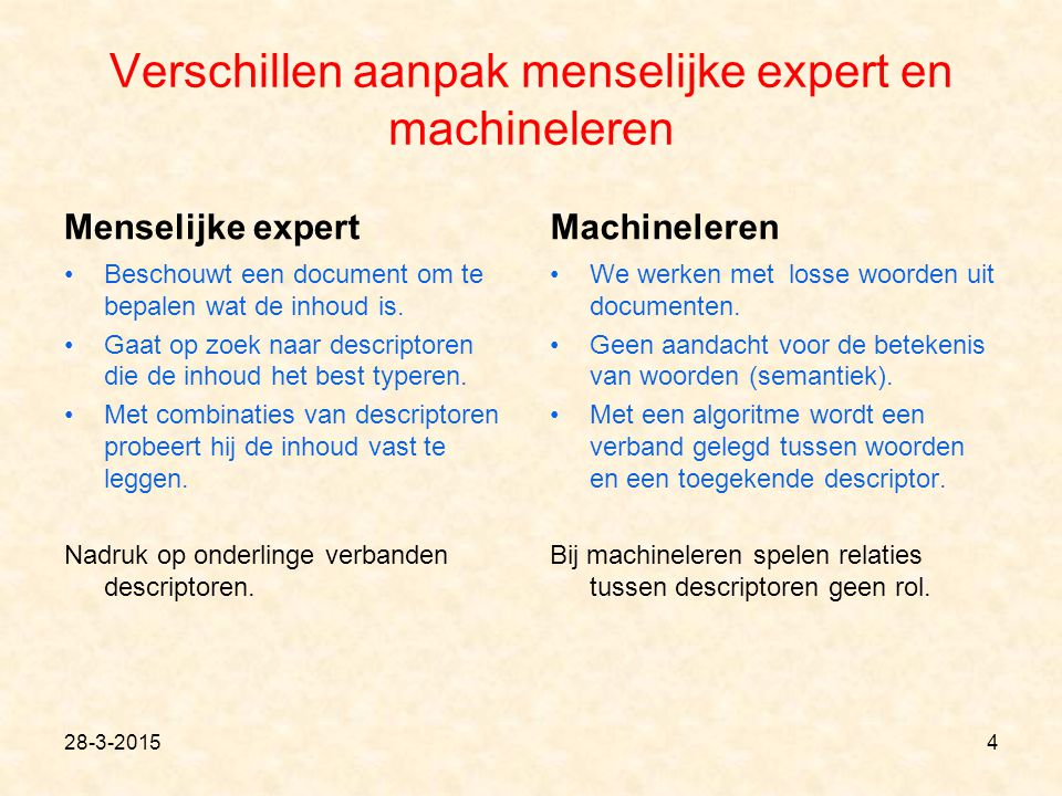 Verschillen aanpak menselijke expert en machineleren Menselijke expert Beschouwt een document om te bepalen wat de inhoud is. Gaat op zoek naar descri