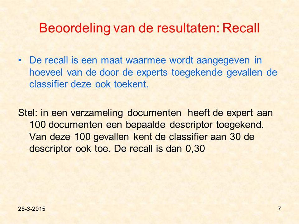 Beoordeling van de resultaten: Recall De recall is een maat waarmee wordt aangegeven in hoeveel van de door de experts toegekende gevallen de classifier deze ook toekent.