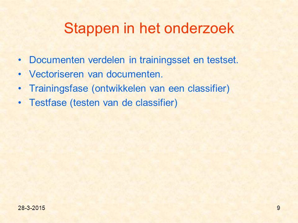 9 Stappen in het onderzoek Documenten verdelen in trainingsset en testset. Vectoriseren van documenten. Trainingsfase (ontwikkelen van een classifier)