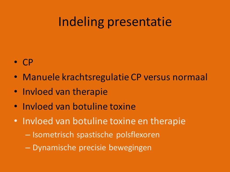 Indeling presentatie CP Manuele krachtsregulatie CP versus normaal Invloed van therapie Invloed van botuline toxine Invloed van botuline toxine en therapie – Isometrisch spastische polsflexoren – Dynamische precisie bewegingen