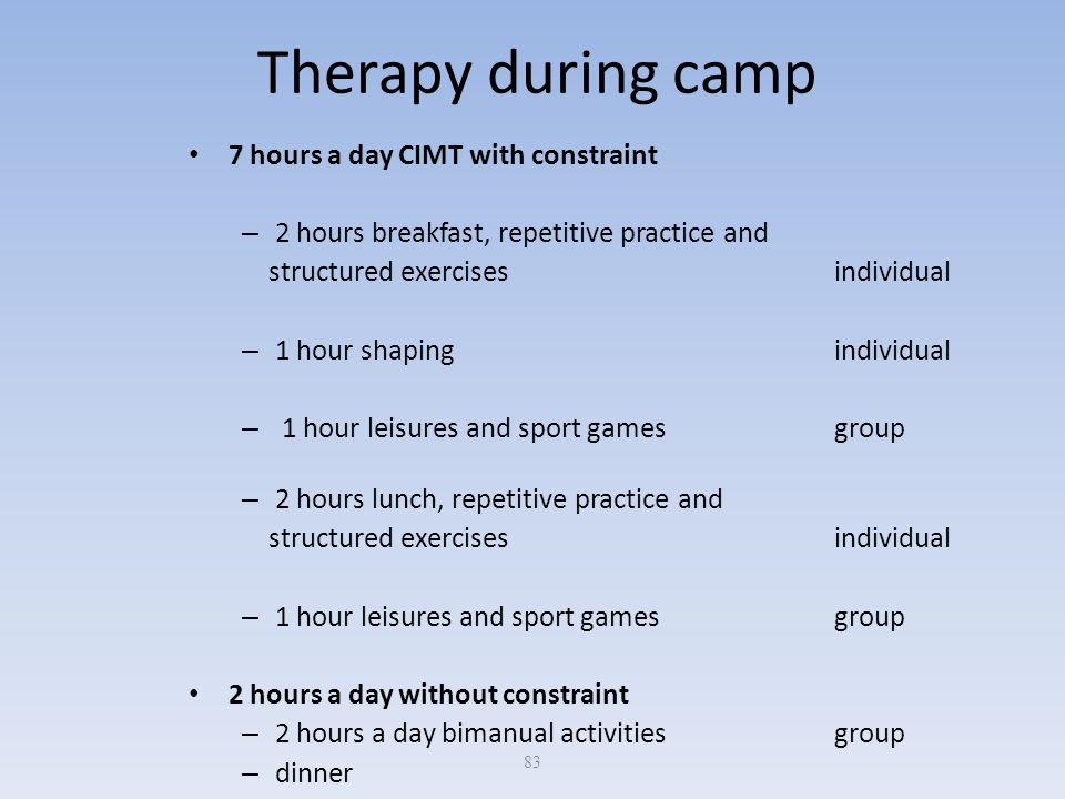 83 Therapy during camp 7 hours a day CIMT with constraint – 2 hours breakfast, repetitive practice and structured exercises individual – 1 hour shapin