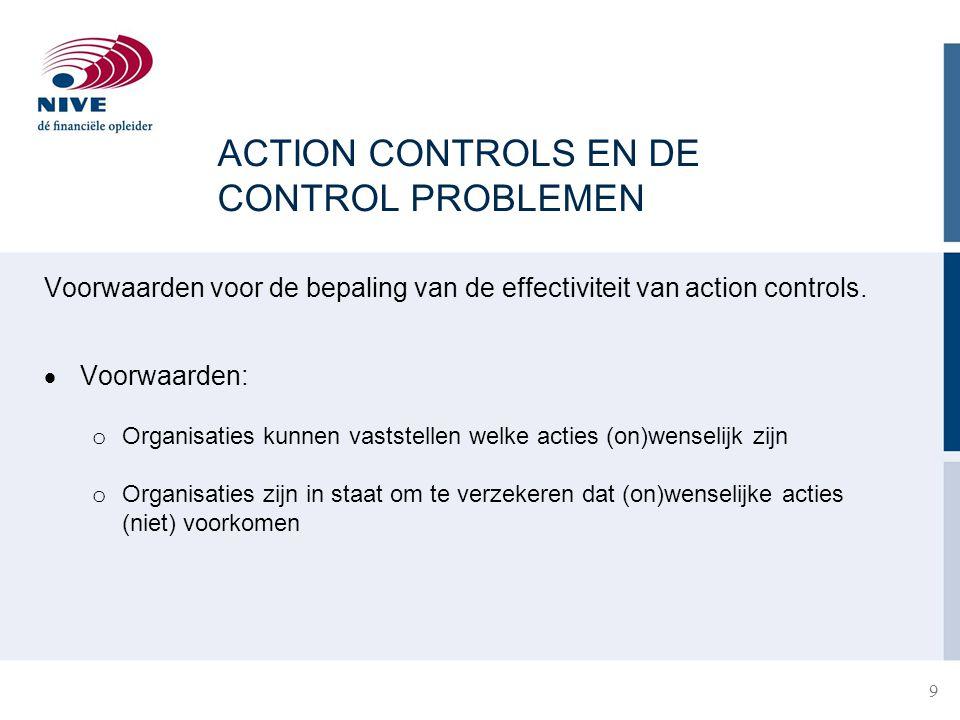 ACTION CONTROLS EN DE CONTROL PROBLEMEN Voorwaarden voor de bepaling van de effectiviteit van action controls.