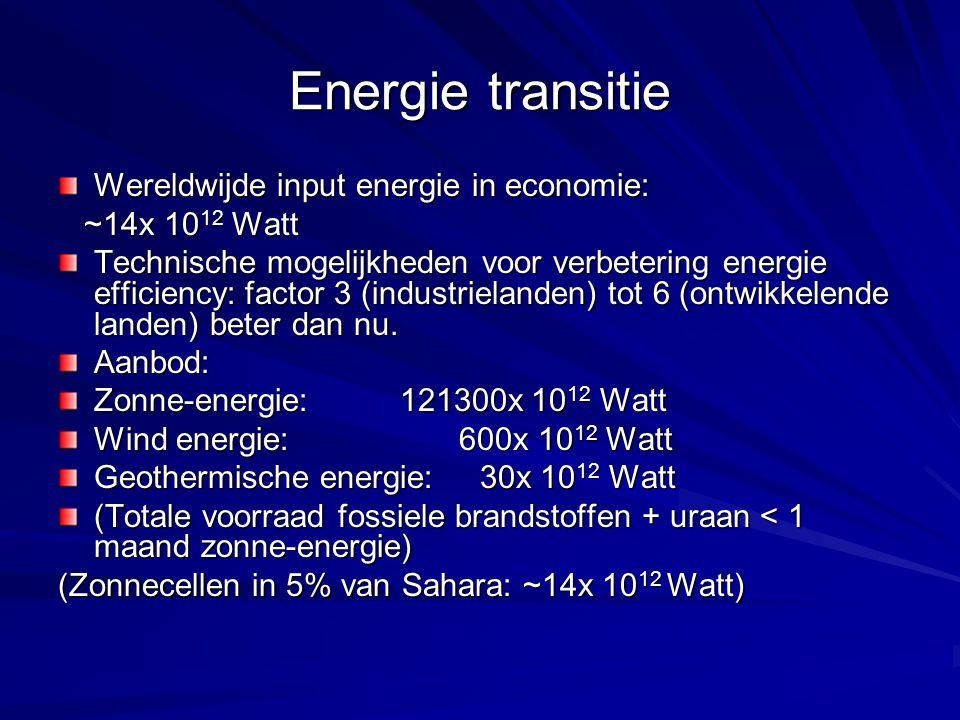 Energie transitie Wereldwijde input energie in economie: ~14x 10 12 Watt ~14x 10 12 Watt Technische mogelijkheden voor verbetering energie efficiency: factor 3 (industrielanden) tot 6 (ontwikkelende landen) beter dan nu.