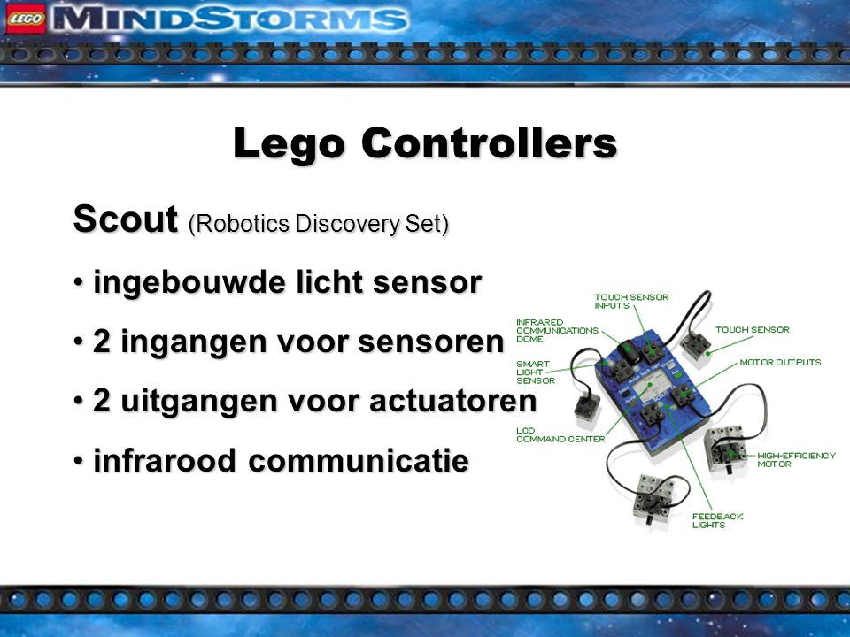 Lego Controllers Micro Scout (Dark Side Developerkit / Droid Developerkit) ingebouwde licht sensor ingebouwde licht sensor ingebouwde motor ingebouwde motor 7 programma s 7 programma s