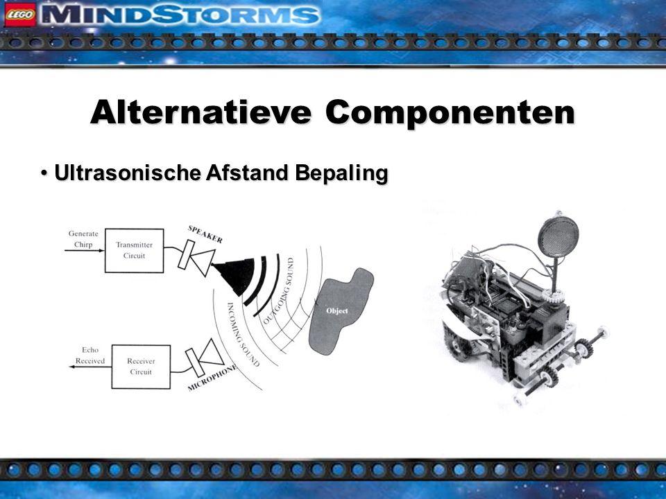 Alternatieve Componenten Handy Board (Fred Martin, MIT) 7 ingangen voor analoge sensoren 7 ingangen voor analoge sensoren 9 ingangen voor digitale sensoren 9 ingangen voor digitale sensoren 4 uitgangen voor DC motoren 4 uitgangen voor DC motoren