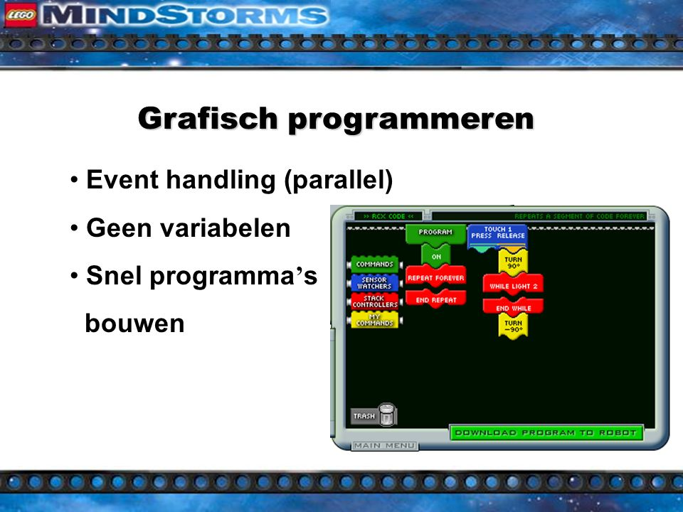 Grafisch programmeren Simpel  Drag en drop Bouwstenen: 1.Commands 2.Sensor watchers 3.Stack controllers 4.User commands