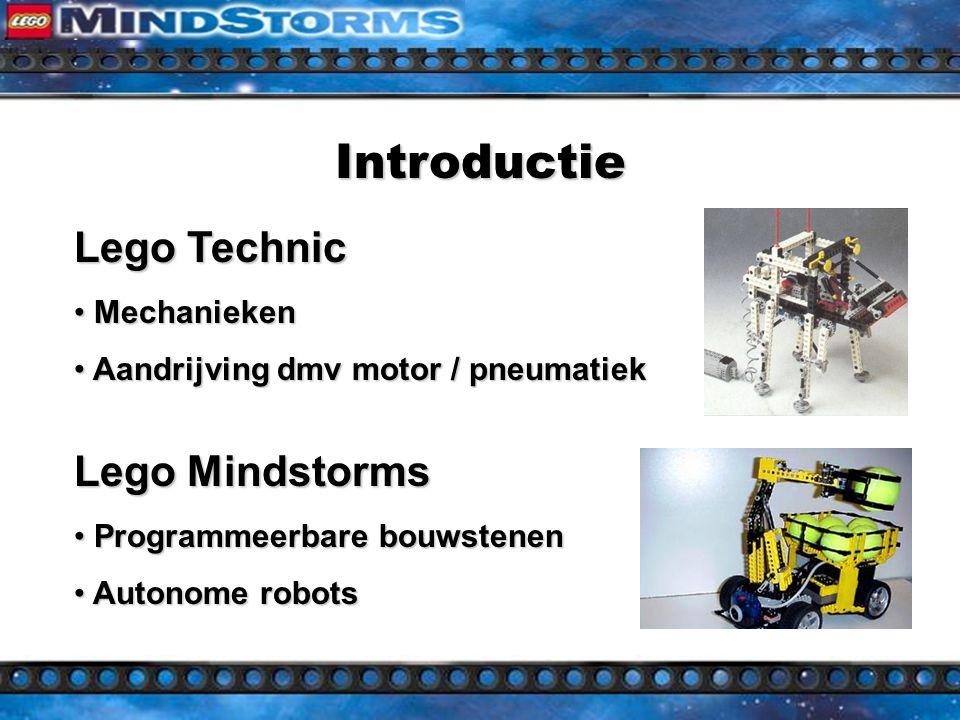 Introductie Lego Mindstorms Programmeerbare bouwstenen Programmeerbare bouwstenen Autonome robots Autonome robots Lego Technic Mechanieken Mechanieken Aandrijving dmv motor / pneumatiek Aandrijving dmv motor / pneumatiek