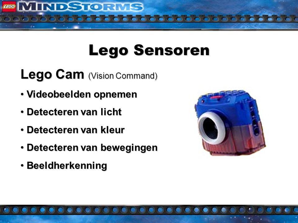 Lego Sensoren Lego Cam (Vision Command) Videobeelden opnemen Videobeelden opnemen Detecteren van licht Detecteren van licht Detecteren van kleur Detecteren van kleur Detecteren van bewegingen Detecteren van bewegingen Beeldherkenning Beeldherkenning