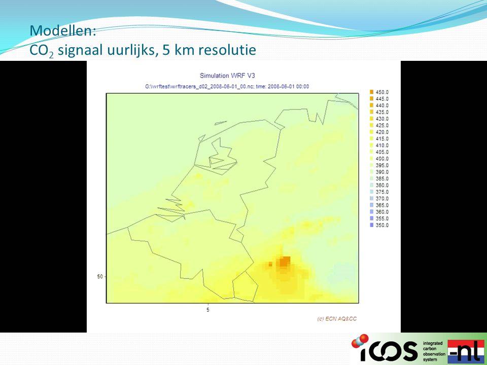 Modellen: CO 2 signaal uurlijks, 5 km resolutie