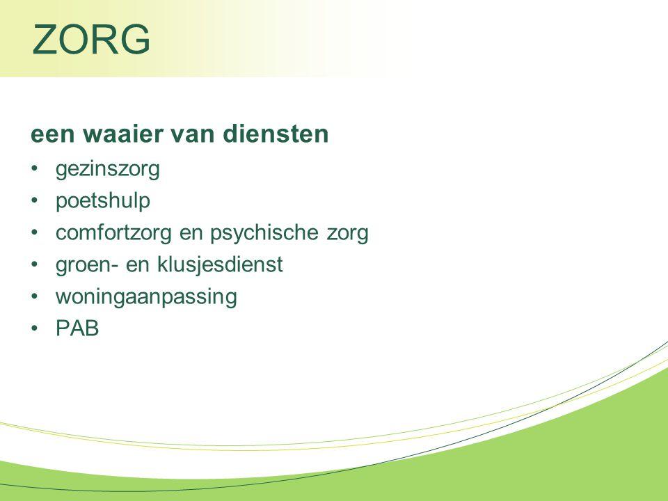 ZORG een waaier van diensten gezinszorg poetshulp comfortzorg en psychische zorg groen- en klusjesdienst woningaanpassing PAB