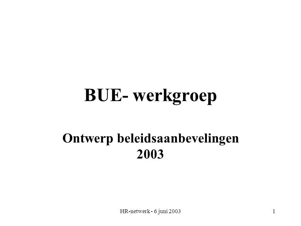 HR-netwerk - 6 juni 20031 BUE- werkgroep Ontwerp beleidsaanbevelingen 2003