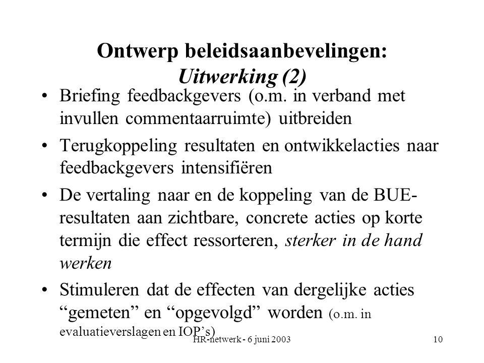 HR-netwerk - 6 juni 200310 Ontwerp beleidsaanbevelingen: Uitwerking (2) Briefing feedbackgevers (o.m. in verband met invullen commentaarruimte) uitbre