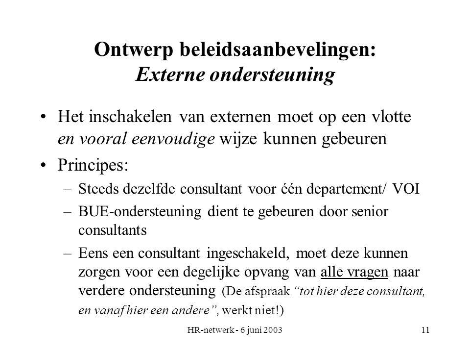 HR-netwerk - 6 juni 200311 Ontwerp beleidsaanbevelingen: Externe ondersteuning Het inschakelen van externen moet op een vlotte en vooral eenvoudige wi