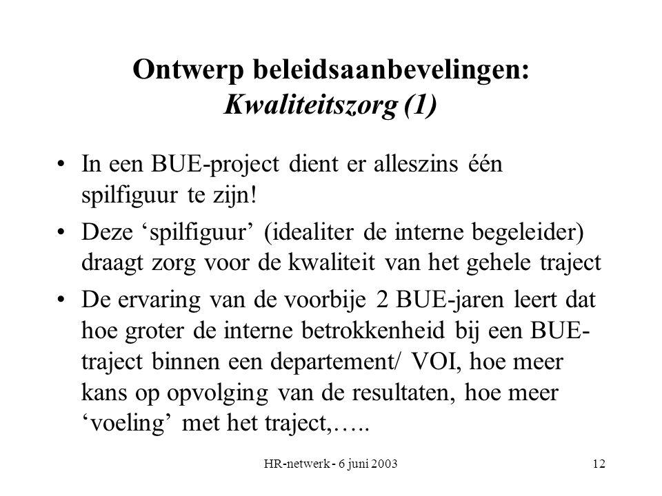 HR-netwerk - 6 juni 200312 Ontwerp beleidsaanbevelingen: Kwaliteitszorg (1) In een BUE-project dient er alleszins één spilfiguur te zijn! Deze 'spilfi