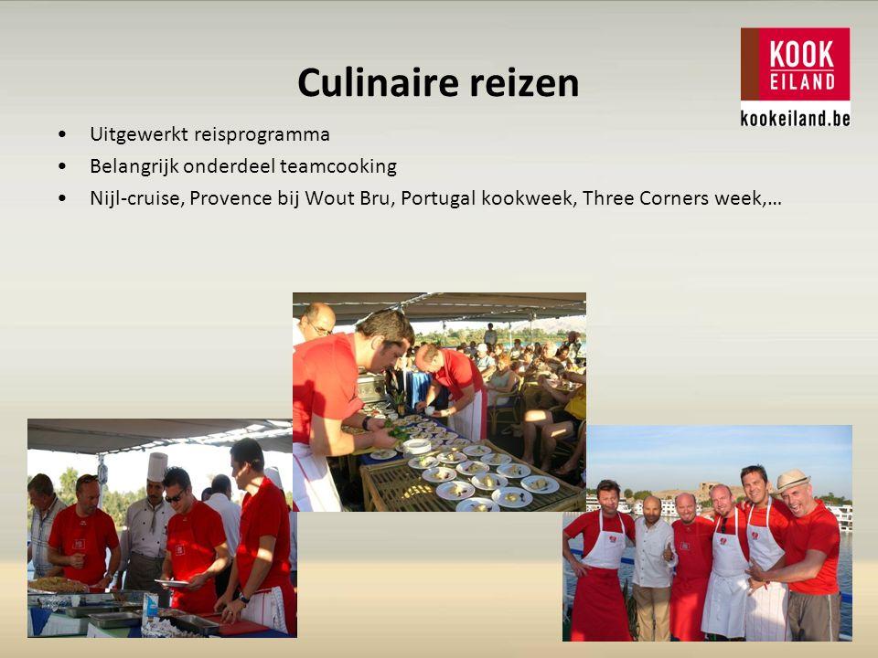 Culinaire reizen Uitgewerkt reisprogramma Belangrijk onderdeel teamcooking Nijl-cruise, Provence bij Wout Bru, Portugal kookweek, Three Corners week,…