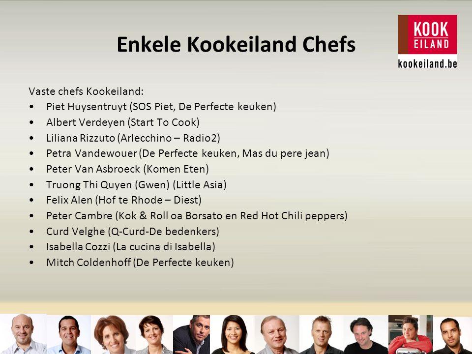 Enkele Kookeiland Chefs Vaste chefs Kookeiland: Piet Huysentruyt (SOS Piet, De Perfecte keuken) Albert Verdeyen (Start To Cook) Liliana Rizzuto (Arlecchino – Radio2) Petra Vandewouer (De Perfecte keuken, Mas du pere jean) Peter Van Asbroeck (Komen Eten) Truong Thi Quyen (Gwen) (Little Asia) Felix Alen (Hof te Rhode – Diest) Peter Cambre (Kok & Roll oa Borsato en Red Hot Chili peppers) Curd Velghe (Q-Curd-De bedenkers) Isabella Cozzi (La cucina di Isabella) Mitch Coldenhoff (De Perfecte keuken)