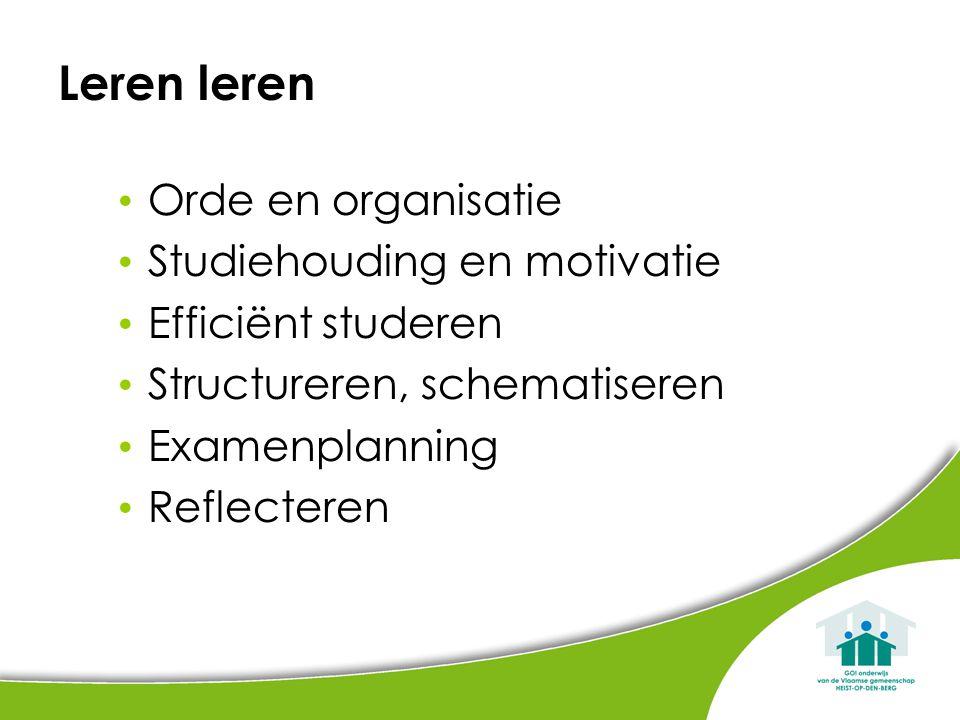 Leren leren Orde en organisatie Studiehouding en motivatie Efficiënt studeren Structureren, schematiseren Examenplanning Reflecteren
