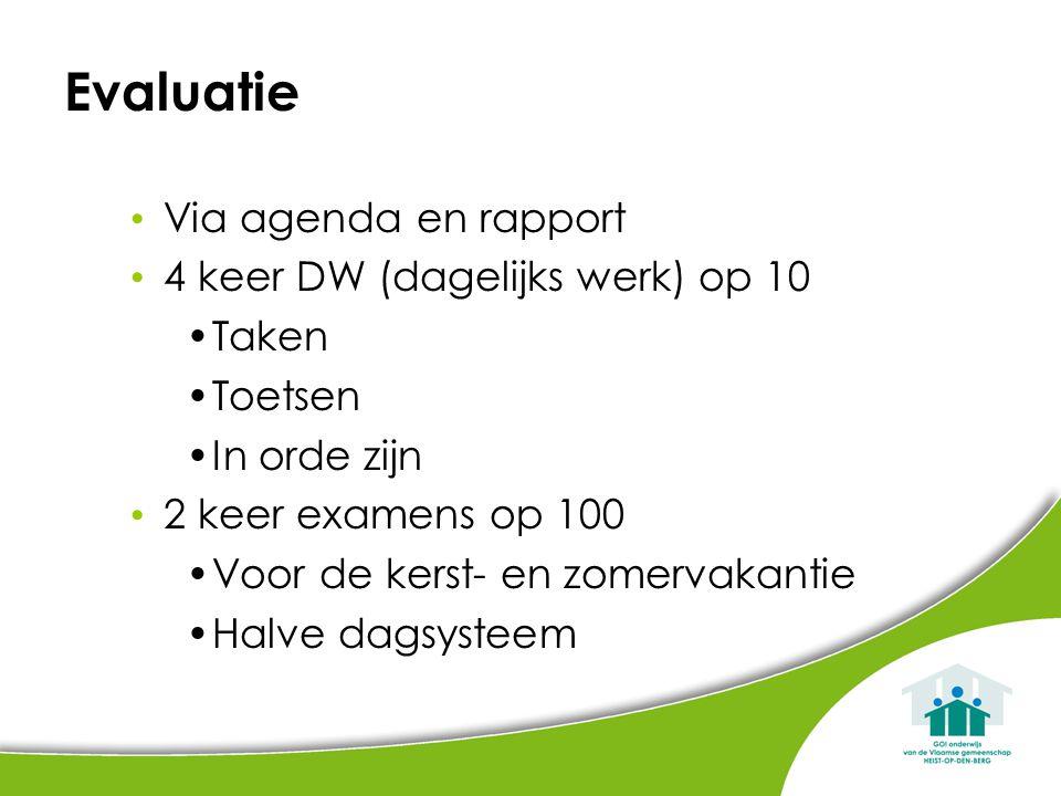 Evaluatie Via agenda en rapport 4 keer DW (dagelijks werk) op 10 Taken Toetsen In orde zijn 2 keer examens op 100 Voor de kerst- en zomervakantie Halv