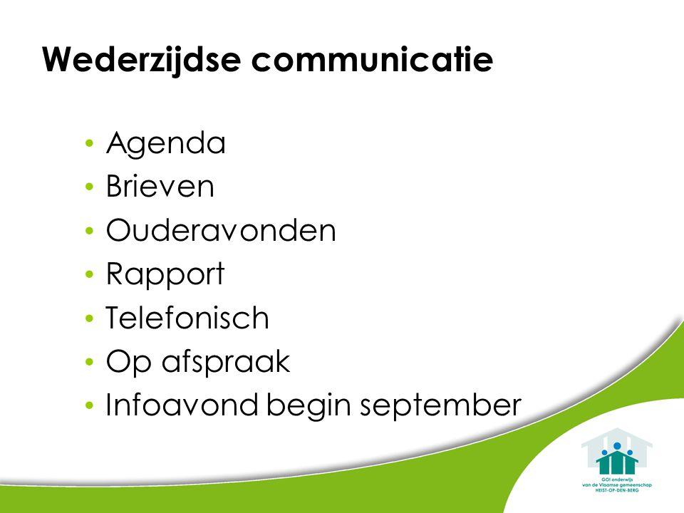 Wederzijdse communicatie Agenda Brieven Ouderavonden Rapport Telefonisch Op afspraak Infoavond begin september