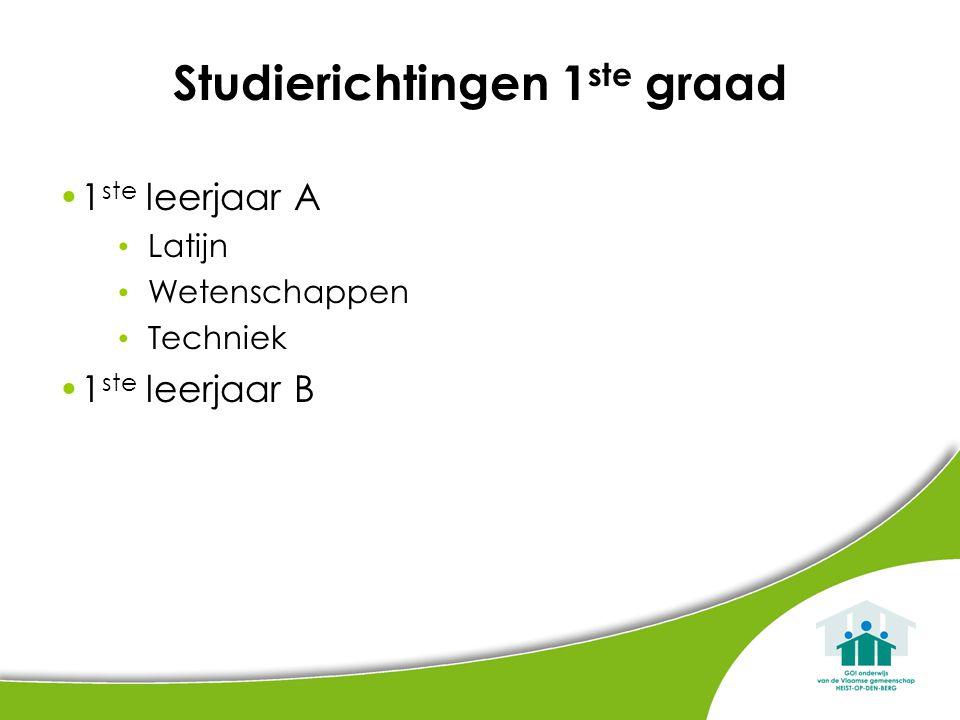 Studierichtingen 1 ste graad 1 ste leerjaar A Latijn Wetenschappen Techniek 1 ste leerjaar B