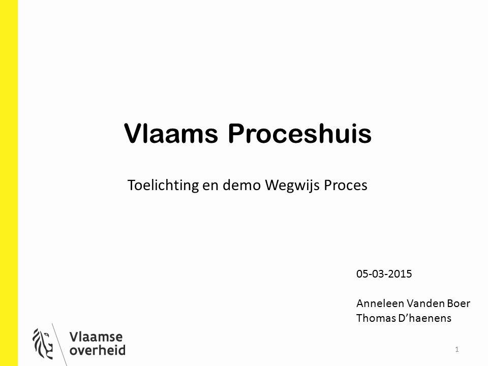 1 Vlaams Proceshuis Toelichting en demo Wegwijs Proces 05-03-2015 Anneleen Vanden Boer Thomas D'haenens