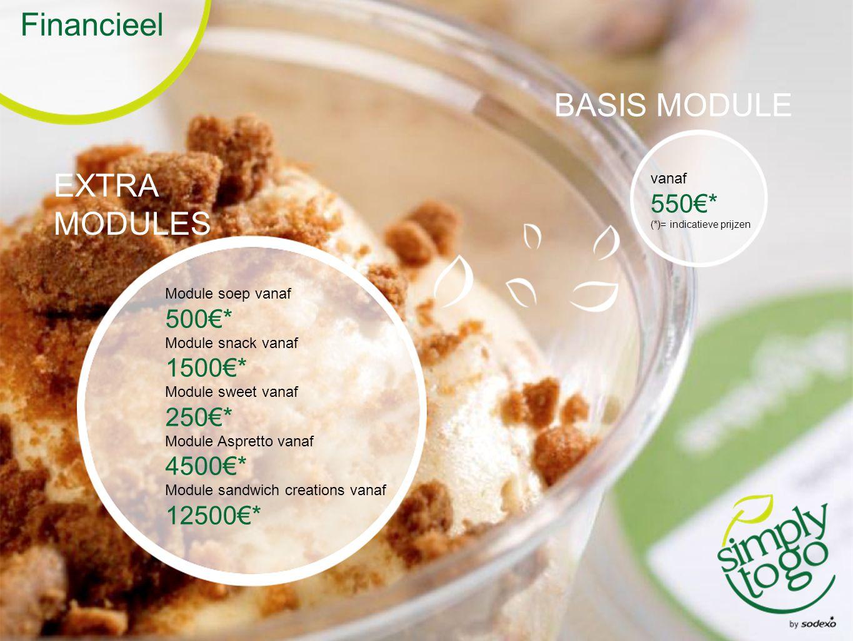 Financieel EXTRA MODULES BASIS MODULE Module soep vanaf 500€* Module snack vanaf 1500€* Module sweet vanaf 250€* Module Aspretto vanaf 4500€* Module sandwich creations vanaf 12500€* vanaf 550€* (*)= indicatieve prijzen