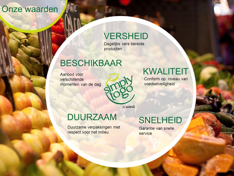 Onze waarden VERSHEID Dagelijks vers bereide producten KWALITEIT Conform op niveau van voedselveiligheid SNELHEID Garantie van snelle service DUURZAAM