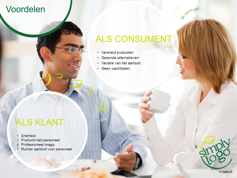 Voordelen ALS CONSUMENT Versheid producten Gezonde alternatieven Variatie van het aanbod Geen wachttijden ALS KLANT Snelheid Productiviteit personeel