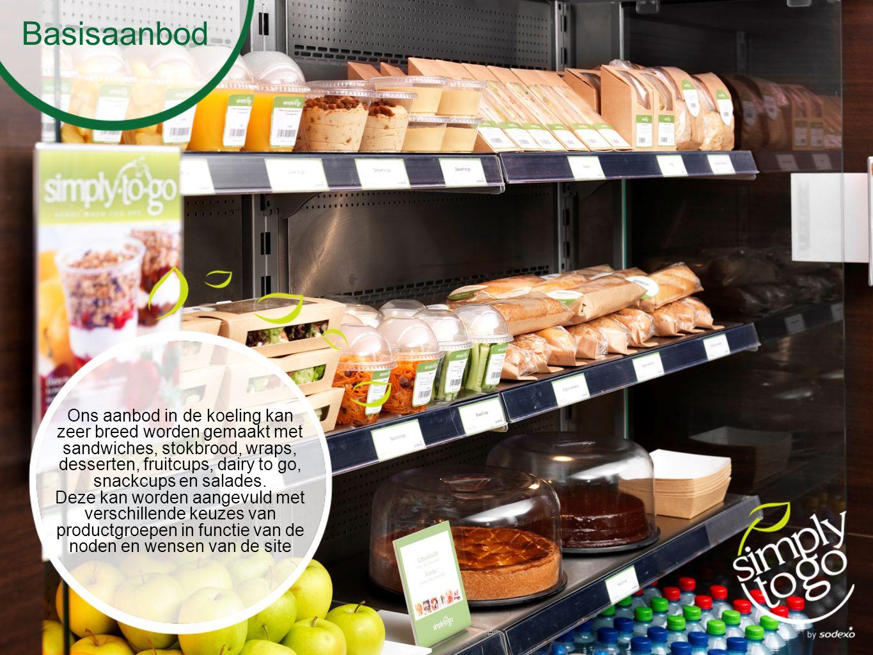 Basisaanbod Ons aanbod in de koeling kan zeer breed worden gemaakt met sandwiches, stokbrood, wraps, desserten, fruitcups, dairy to go, snackcups en salades.
