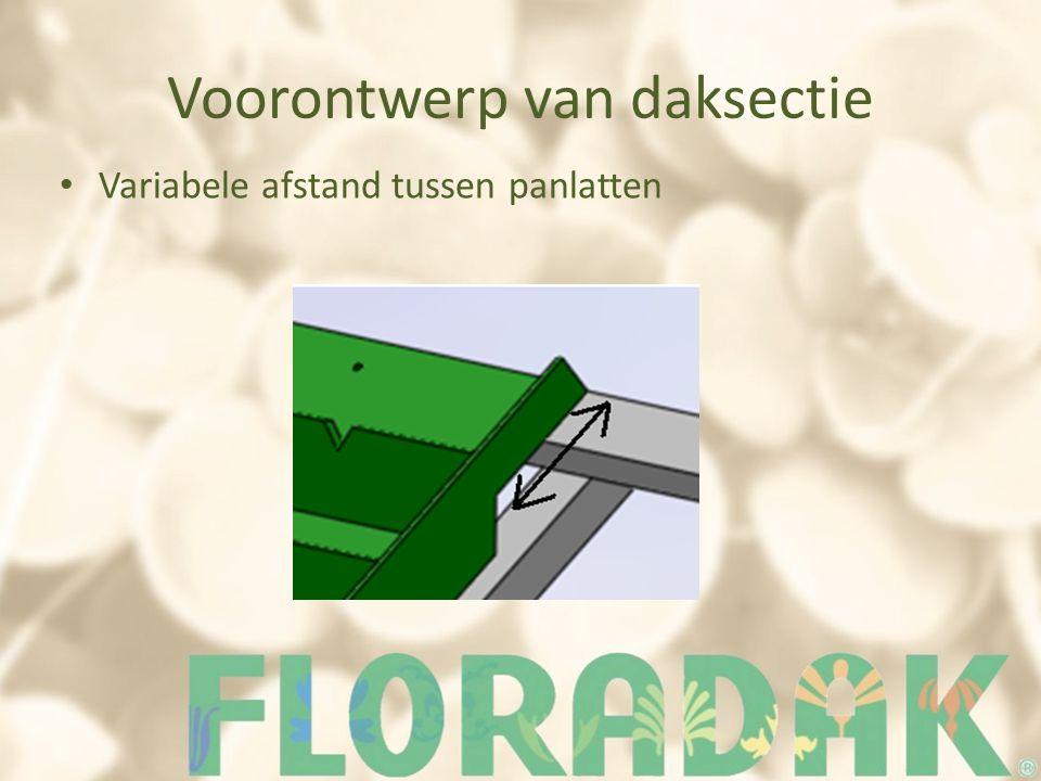 Voorontwerp van daksectie Variabele afstand tussen panlatten