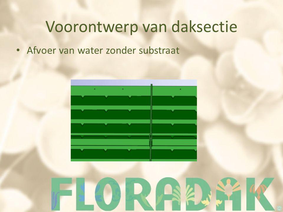 Voorontwerp van daksectie Afvoer van water zonder substraat