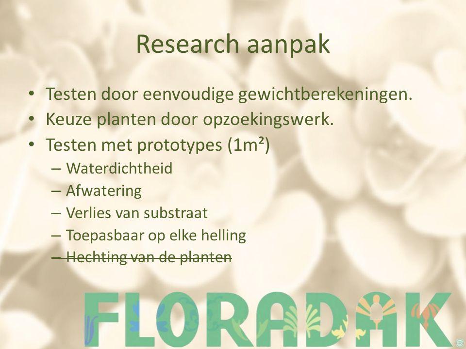 Research aanpak Testen door eenvoudige gewichtberekeningen. Keuze planten door opzoekingswerk. Testen met prototypes (1m²) – Waterdichtheid – Afwateri