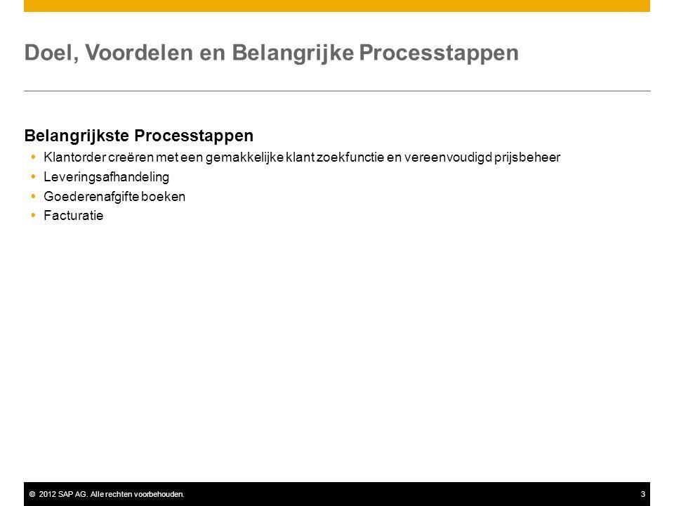 ©2012 SAP AG. Alle rechten voorbehouden.3 Doel, Voordelen en Belangrijke Processtappen Belangrijkste Processtappen  Klantorder creëren met een gemakk