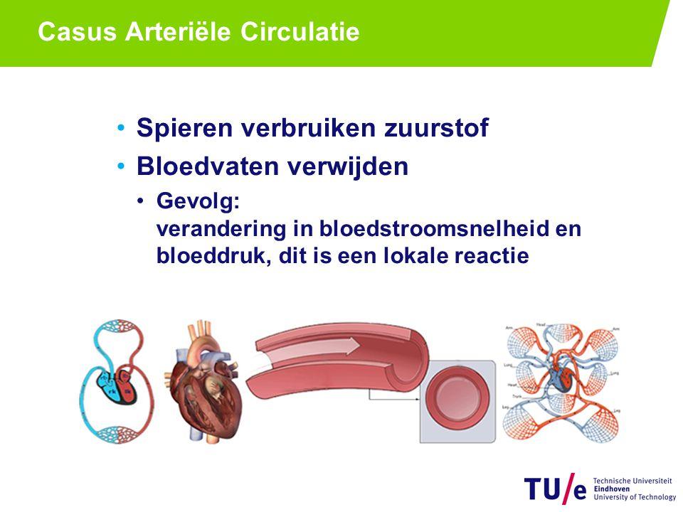 Casus Arteriële Circulatie Spieren verbruiken zuurstof Bloedvaten verwijden Gevolg: verandering in bloedstroomsnelheid en bloeddruk, dit is een lokale