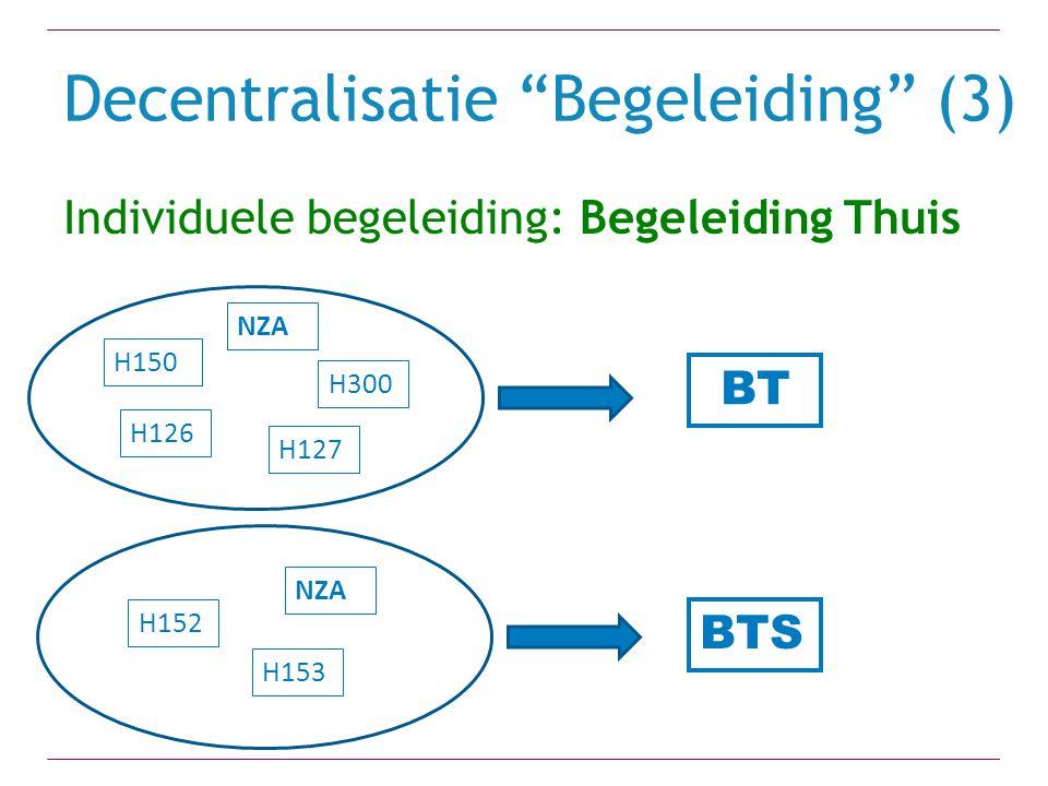 """Decentralisatie """"Begeleiding"""" (3) Individuele begeleiding: Begeleiding Thuis H150 H126 H300 H127 H152 H153 NZA BT BTS"""