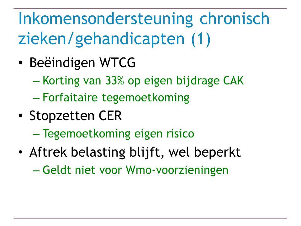 Inkomensondersteuning chronisch zieken/gehandicapten (1) Beëindigen WTCG – Korting van 33% op eigen bijdrage CAK – Forfaitaire tegemoetkoming Stopzett
