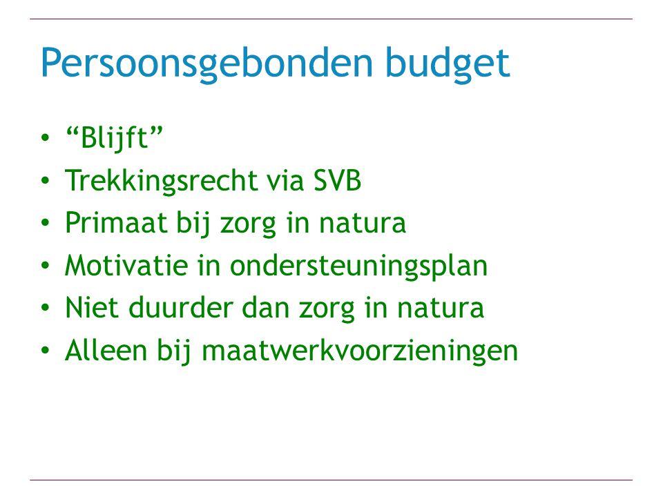 """Persoonsgebonden budget """"Blijft"""" Trekkingsrecht via SVB Primaat bij zorg in natura Motivatie in ondersteuningsplan Niet duurder dan zorg in natura All"""