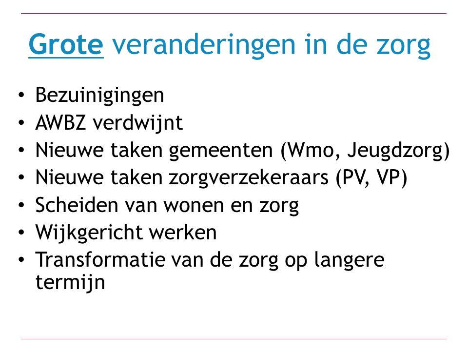 Grote veranderingen in de zorg Bezuinigingen AWBZ verdwijnt Nieuwe taken gemeenten (Wmo, Jeugdzorg) Nieuwe taken zorgverzekeraars (PV, VP) Scheiden va