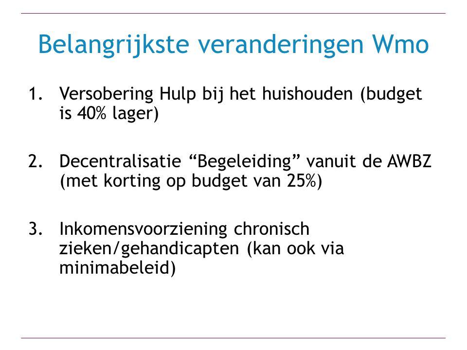 """Belangrijkste veranderingen Wmo 1.Versobering Hulp bij het huishouden (budget is 40% lager) 2.Decentralisatie """"Begeleiding"""" vanuit de AWBZ (met kortin"""