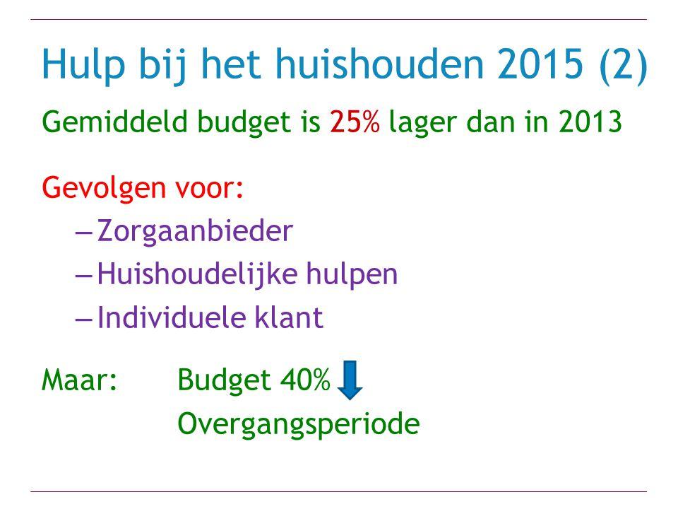 Hulp bij het huishouden 2015 (2) Gemiddeld budget is 25% lager dan in 2013 Gevolgen voor: – Zorgaanbieder – Huishoudelijke hulpen – Individuele klant